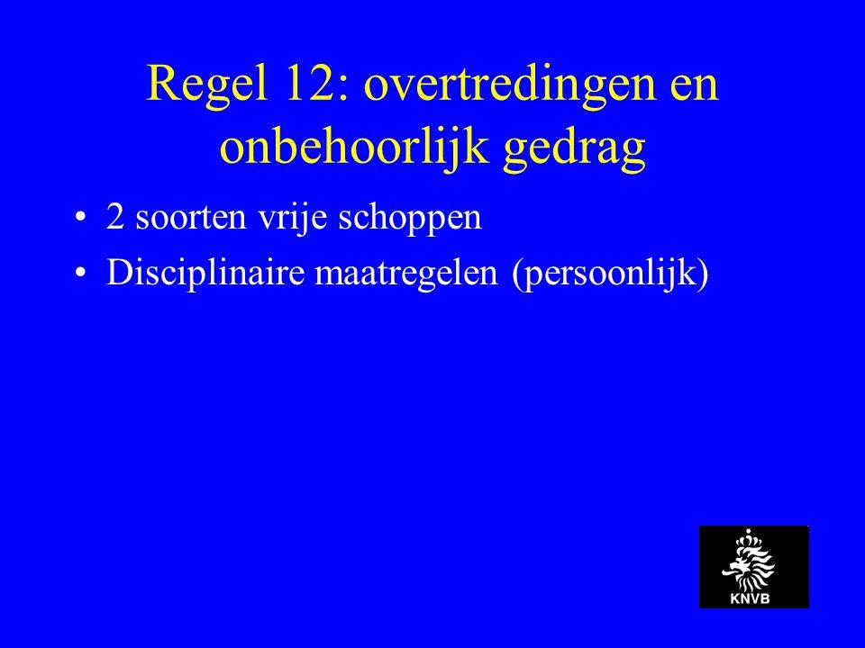 Regel 12: overtredingen en onbehoorlijk gedrag 2 soorten vrije schoppen Disciplinaire maatregelen (persoonlijk)