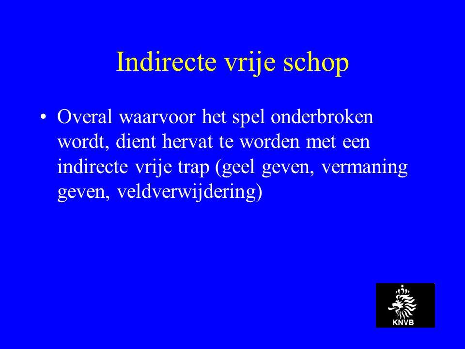 Indirecte vrije schop Overal waarvoor het spel onderbroken wordt, dient hervat te worden met een indirecte vrije trap (geel geven, vermaning geven, veldverwijdering)