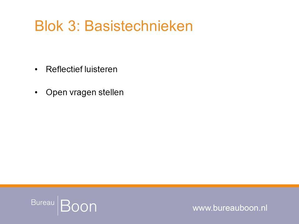Blok 3: Basistechnieken Reflectief luisteren Open vragen stellen