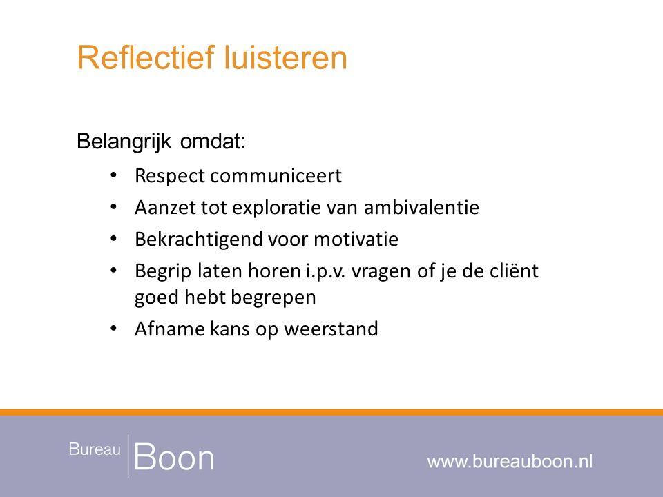 Reflectief luisteren Belangrijk omdat: Respect communiceert Aanzet tot exploratie van ambivalentie Bekrachtigend voor motivatie Begrip laten horen i.p