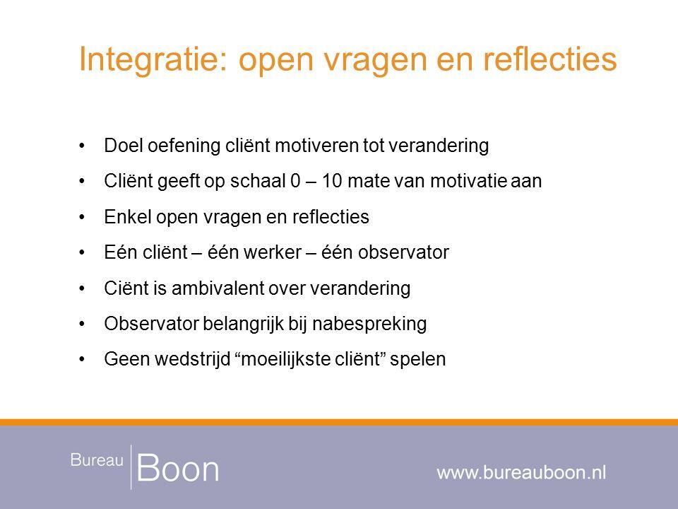 Integratie: open vragen en reflecties Doel oefening cliënt motiveren tot verandering Cliënt geeft op schaal 0 – 10 mate van motivatie aan Enkel open v