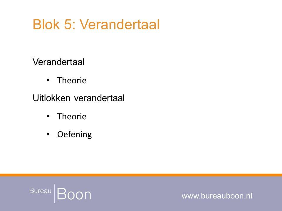 Blok 5: Verandertaal Verandertaal Theorie Uitlokken verandertaal Theorie Oefening