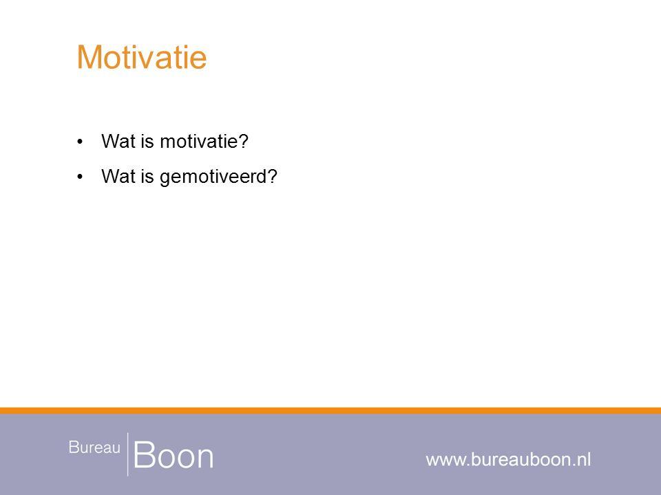 Motivatie Wat is motivatie? Wat is gemotiveerd?
