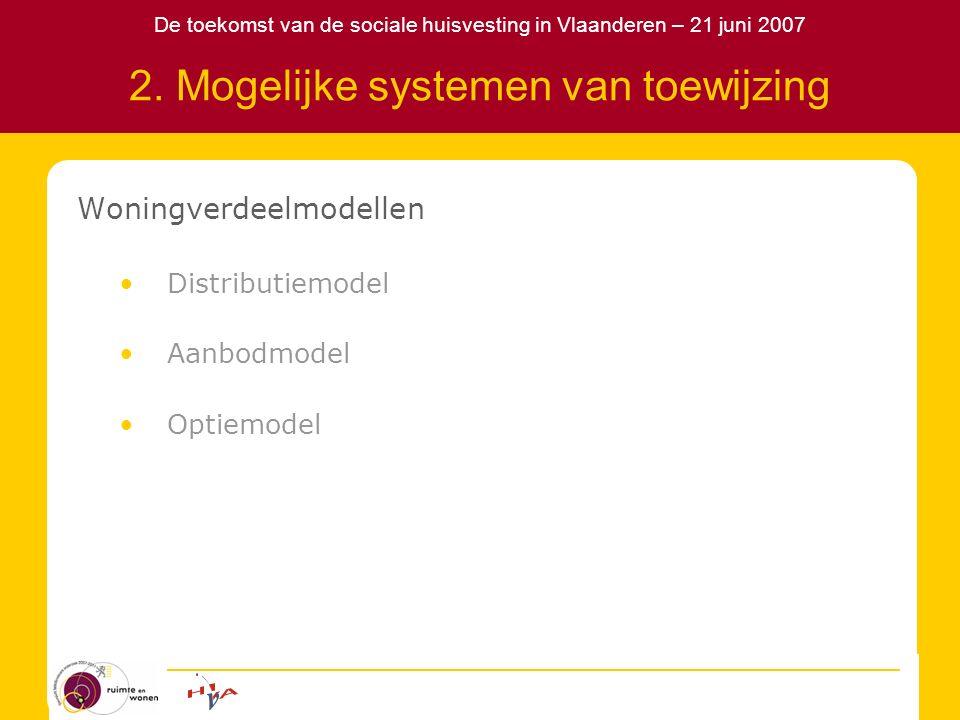 De toekomst van de sociale huisvesting in Vlaanderen – 21 juni 2007 2. Mogelijke systemen van toewijzing Woningverdeelmodellen Distributiemodel Aanbod