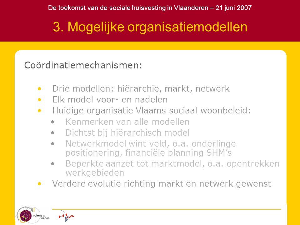 De toekomst van de sociale huisvesting in Vlaanderen – 21 juni 2007 3. Mogelijke organisatiemodellen Coördinatiemechanismen: Drie modellen: hiërarchie