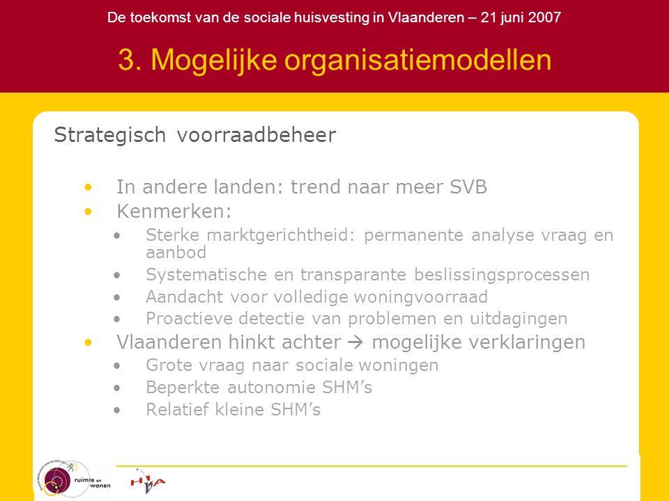 De toekomst van de sociale huisvesting in Vlaanderen – 21 juni 2007 3. Mogelijke organisatiemodellen Strategisch voorraadbeheer In andere landen: tren