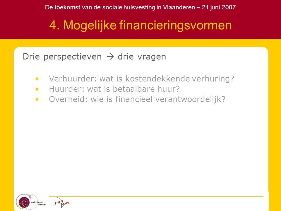 De toekomst van de sociale huisvesting in Vlaanderen – 21 juni 2007 4. Mogelijke financieringsvormen Drie perspectieven  drie vragen Verhuurder: wat