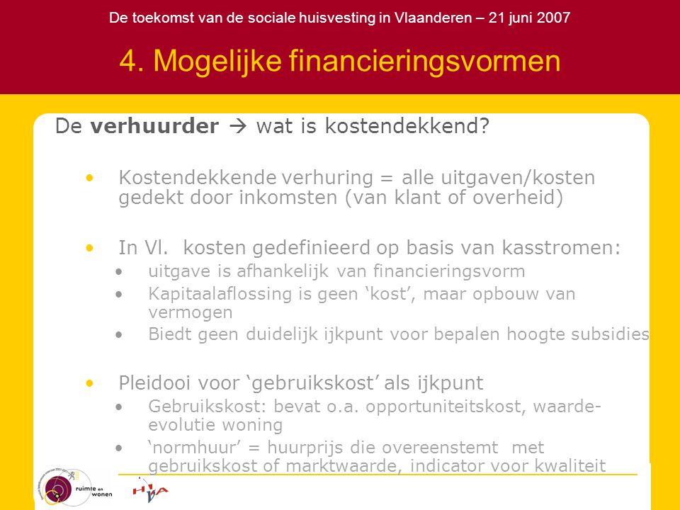 De toekomst van de sociale huisvesting in Vlaanderen – 21 juni 2007 4. Mogelijke financieringsvormen De verhuurder  wat is kostendekkend? Kostendekke