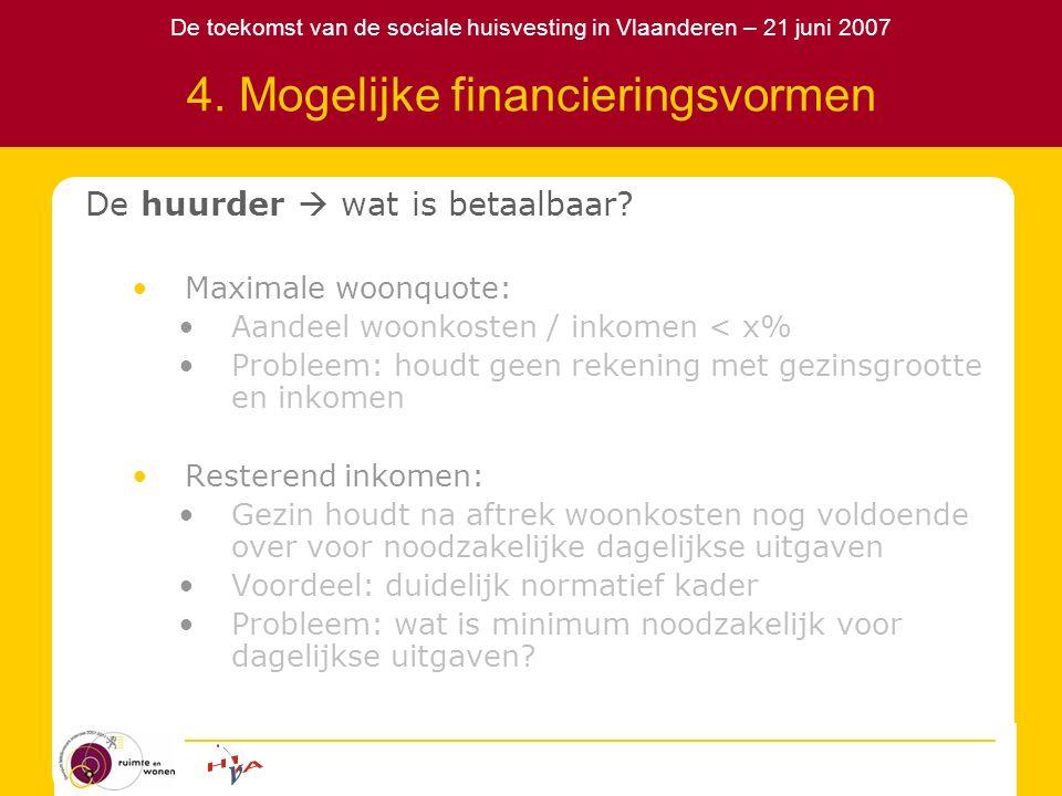 De toekomst van de sociale huisvesting in Vlaanderen – 21 juni 2007 4. Mogelijke financieringsvormen De huurder  wat is betaalbaar? Maximale woonquot