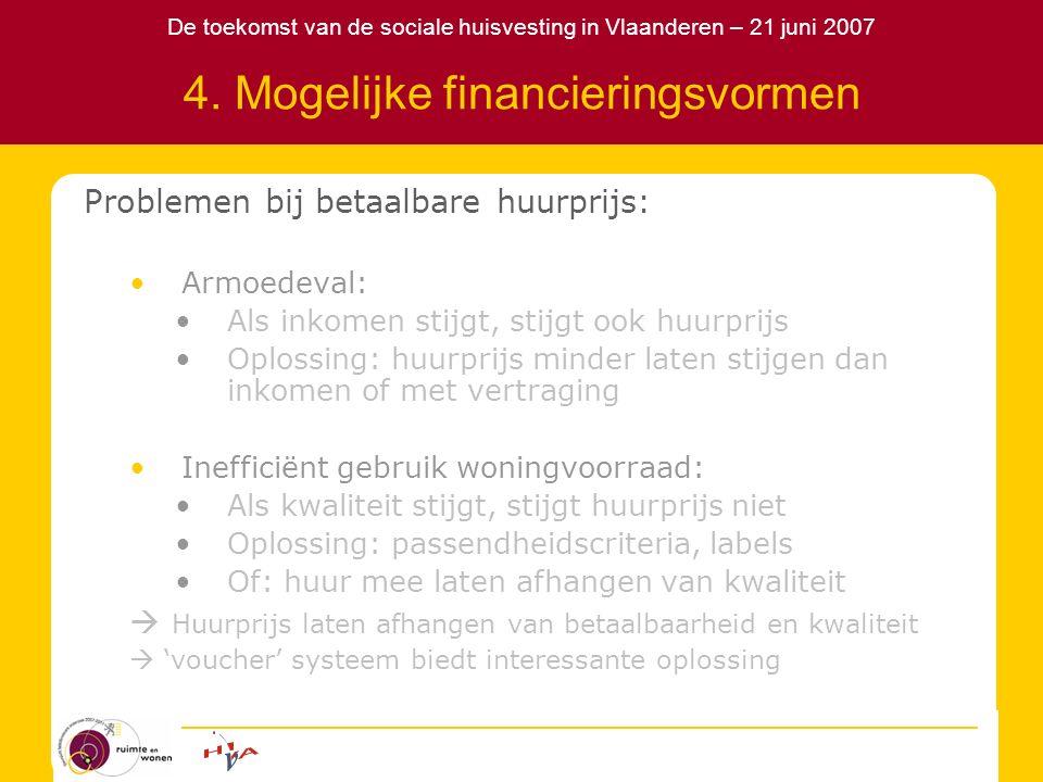 De toekomst van de sociale huisvesting in Vlaanderen – 21 juni 2007 4. Mogelijke financieringsvormen Problemen bij betaalbare huurprijs: Armoedeval: A