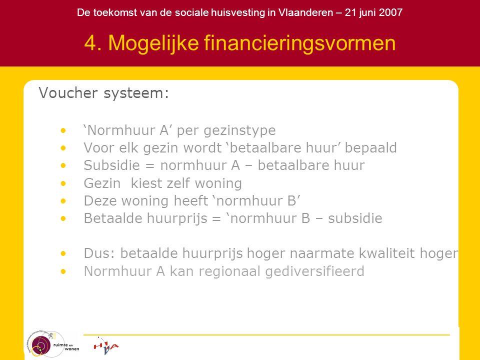 De toekomst van de sociale huisvesting in Vlaanderen – 21 juni 2007 4. Mogelijke financieringsvormen Voucher systeem: 'Normhuur A' per gezinstype Voor
