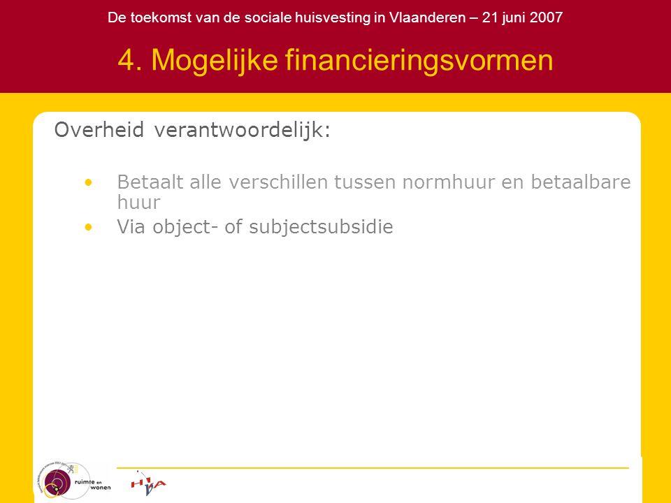 De toekomst van de sociale huisvesting in Vlaanderen – 21 juni 2007 4. Mogelijke financieringsvormen Overheid verantwoordelijk: Betaalt alle verschill