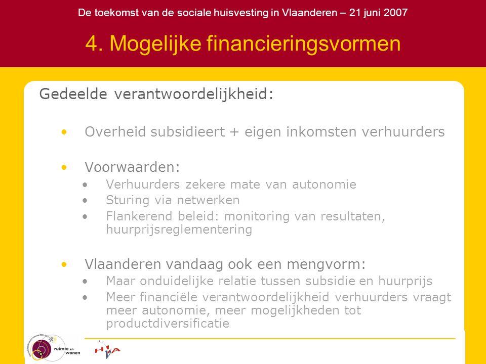 De toekomst van de sociale huisvesting in Vlaanderen – 21 juni 2007 4. Mogelijke financieringsvormen Gedeelde verantwoordelijkheid: Overheid subsidiee