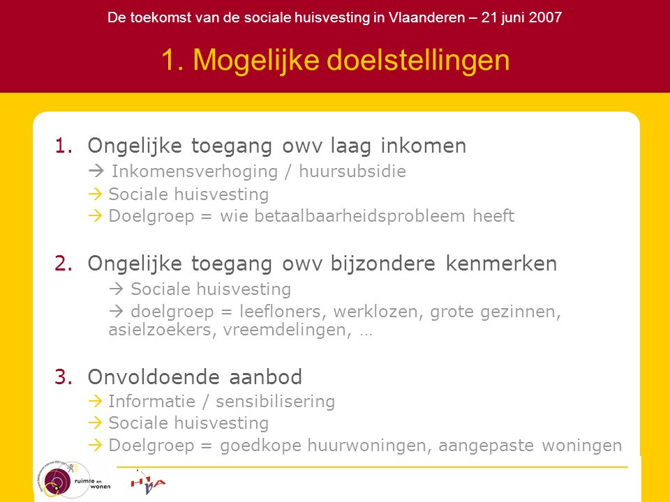 De toekomst van de sociale huisvesting in Vlaanderen – 21 juni 2007 1. Mogelijke doelstellingen 1.Ongelijke toegang owv laag inkomen  Inkomensverhogi