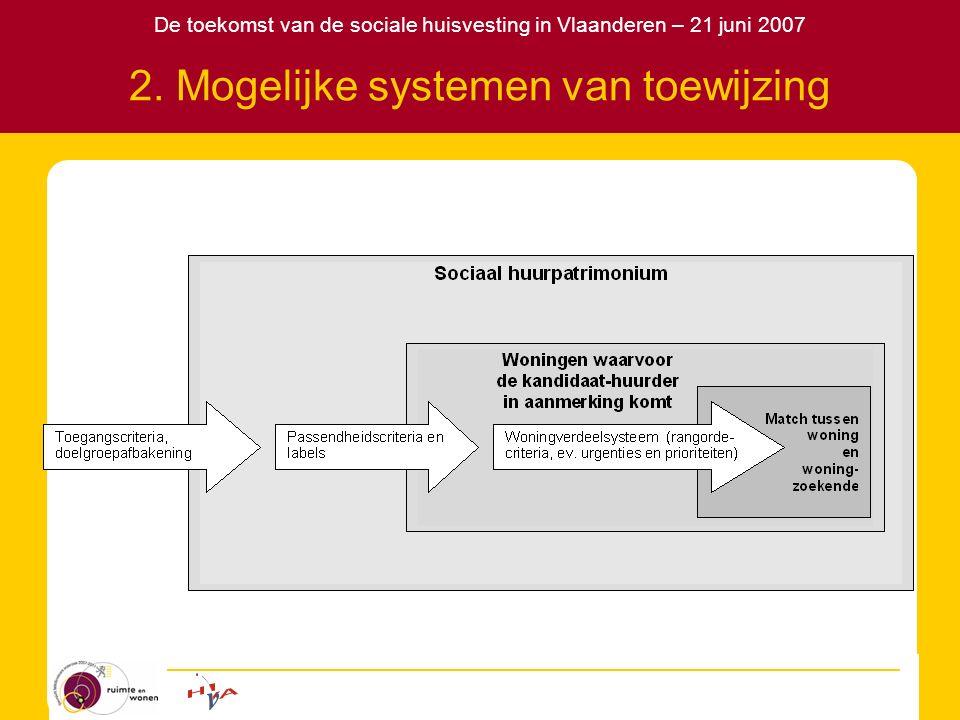 De toekomst van de sociale huisvesting in Vlaanderen – 21 juni 2007 2. Mogelijke systemen van toewijzing
