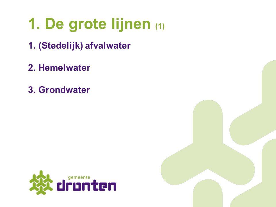 1.(Stedelijk) afvalwater 2.Hemelwater 3.Grondwater 1. De grote lijnen (1)