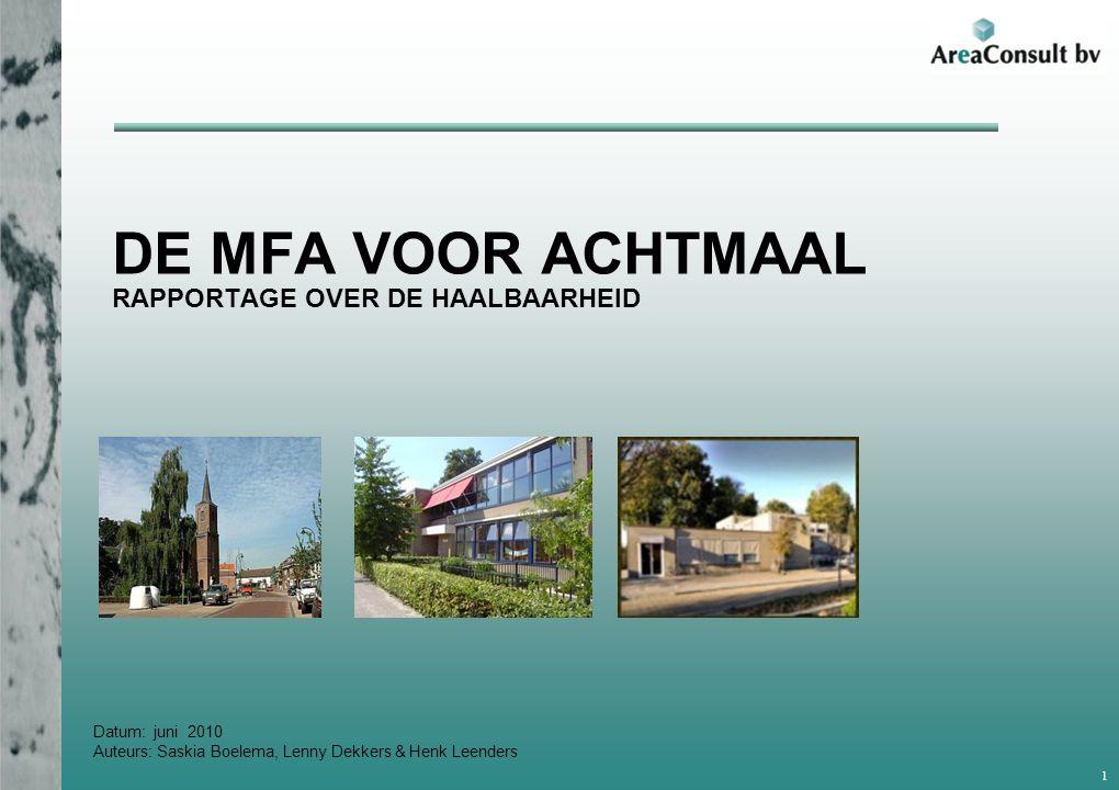 Datum: juni 2010 Auteurs: Saskia Boelema, Lenny Dekkers & Henk Leenders DE MFA VOOR ACHTMAAL RAPPORTAGE OVER DE HAALBAARHEID 1