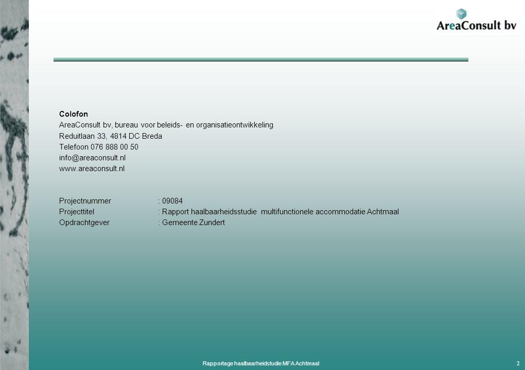 Inhoudsopgave 1.Inleiding 1 1.1 Aanleiding 5 1.2 Uitgangspunten van de gemeente 1.3 Aanpak 2.Visie over het gebruik van de MFA 7 3.Functionele wensen van gebruikers 9 4.Ontwerp van een nieuwe multifunctionele Accommodatie MFA 15 4.1 Beschrijving ontwerp 4.2 Ruimtelijke vertaling 4.3 Randvoorwaarden voor het beheer 4.4.