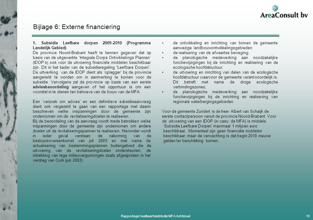 Bijlage 6: Externe financiering 1.
