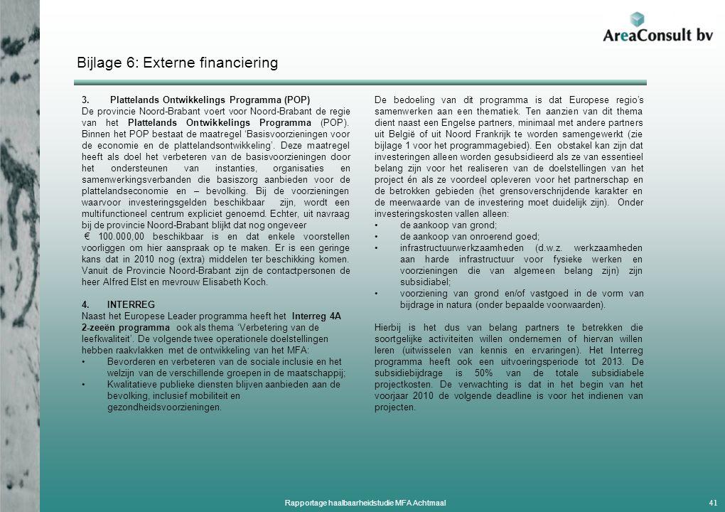 Bijlage 6: Externe financiering 3.