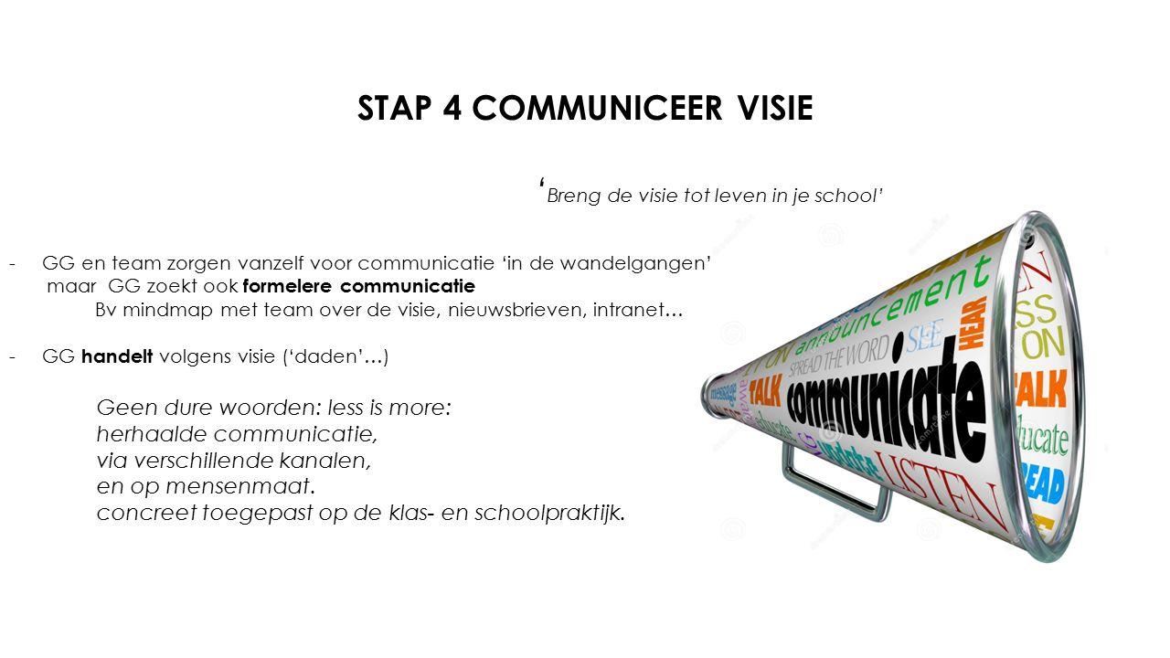 STAP 4 COMMUNICEER VISIE ' Breng de visie tot leven in je school' -GG en team zorgen vanzelf voor communicatie 'in de wandelgangen' maar GG zoekt ook formelere communicatie Bv mindmap met team over de visie, nieuwsbrieven, intranet… -GG handelt volgens visie ('daden'…) Geen dure woorden: less is more: herhaalde communicatie, via verschillende kanalen, en op mensenmaat.