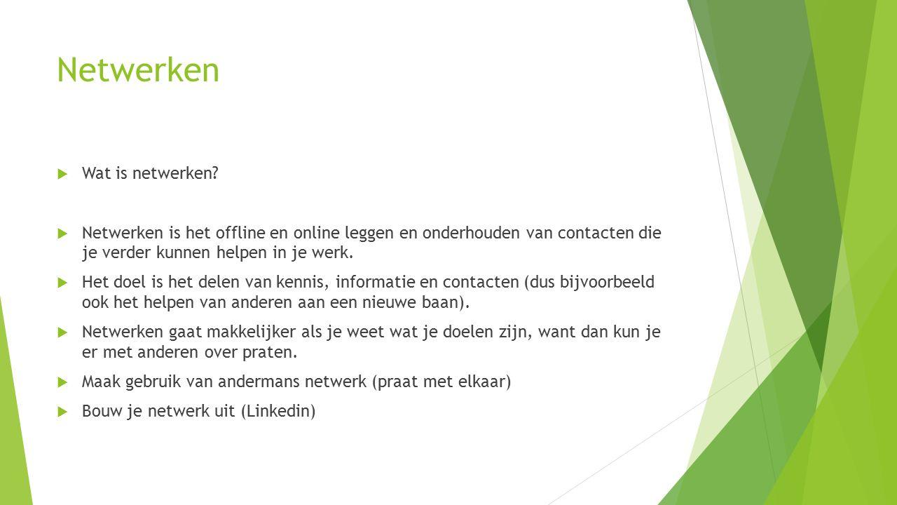 Netwerken  Wat is netwerken.