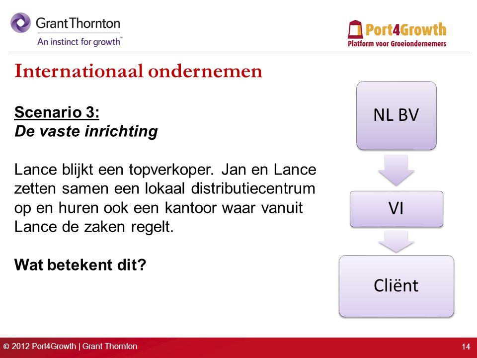 © 2012 Port4Growth | Grant Thornton Internationaal ondernemen Scenario 3: De vaste inrichting Lance blijkt een topverkoper. Jan en Lance zetten samen