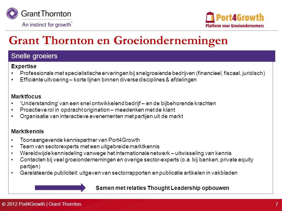 © 2012 Port4Growth | Grant Thornton Grant Thornton en Groeiondernemingen Snelle groeiers: Expertise Professionals met specialistische ervaringen bij s