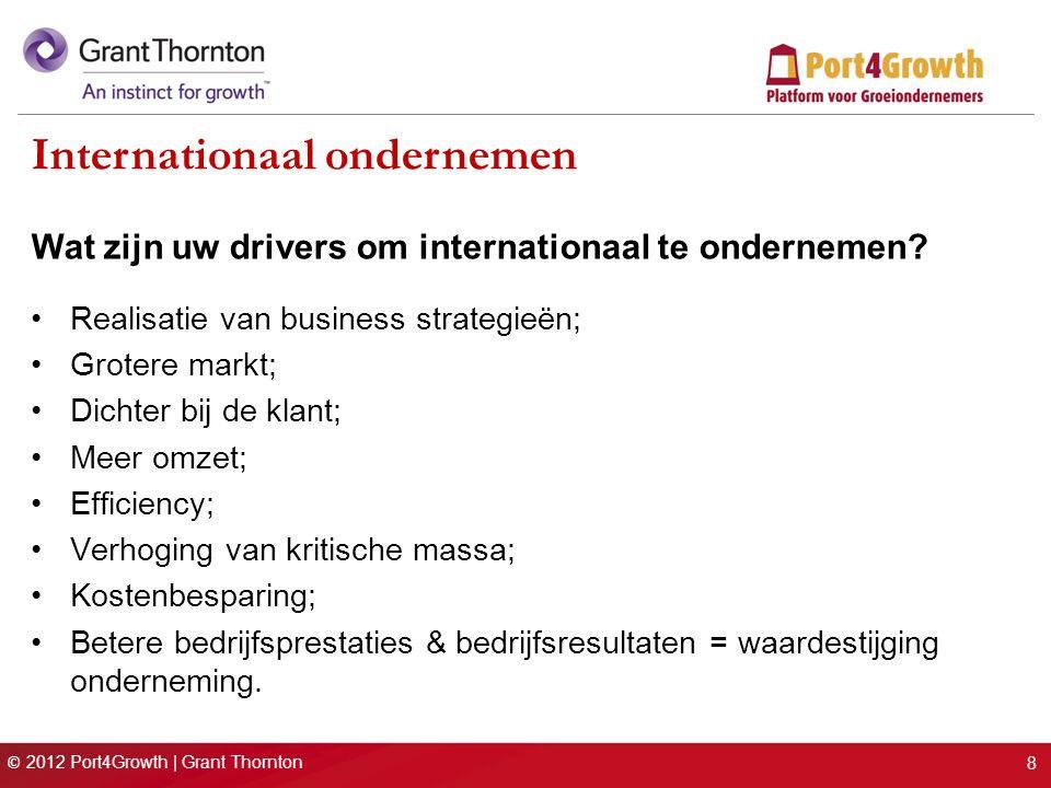 © 2012 Port4Growth | Grant Thornton Internationaal ondernemen Wat zijn uw drivers om internationaal te ondernemen? Realisatie van business strategieën