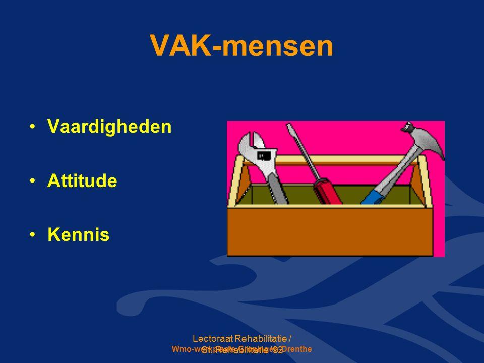 Wmo-werkplaats Groningen-Drenthe VAK-mensen Vaardigheden Attitude Kennis Lectoraat Rehabilitatie / St.