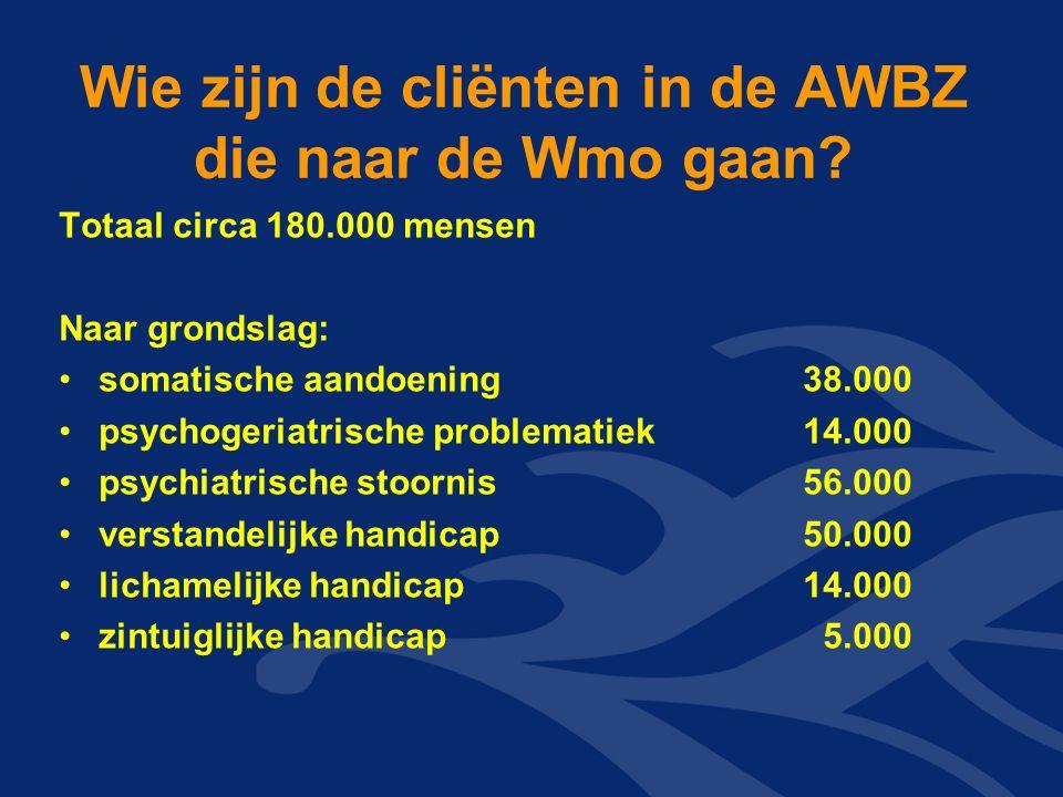 Wie zijn de cliënten in de AWBZ die naar de Wmo gaan.