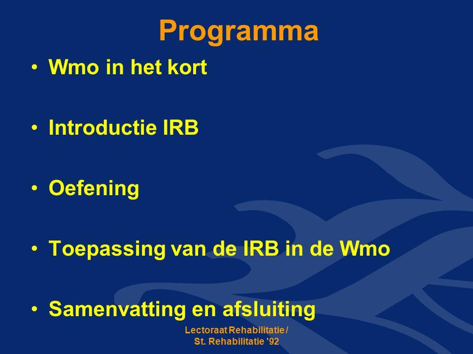 Programma Wmo in het kort Introductie IRB Oefening Toepassing van de IRB in de Wmo Samenvatting en afsluiting Lectoraat Rehabilitatie / St.