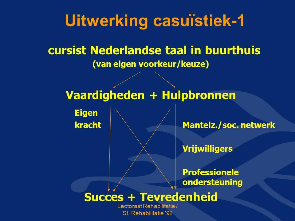 Uitwerking casuïstiek-1 cursist Nederlandse taal in buurthuis (van eigen voorkeur/keuze) Vaardigheden + Hulpbronnen Eigen kracht Mantelz./soc.