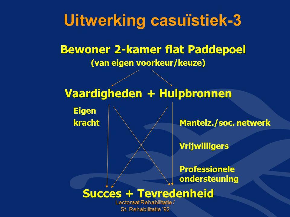Uitwerking casuïstiek-3 Bewoner 2-kamer flat Paddepoel (van eigen voorkeur/keuze) Vaardigheden + Hulpbronnen Eigen kracht Mantelz./soc.