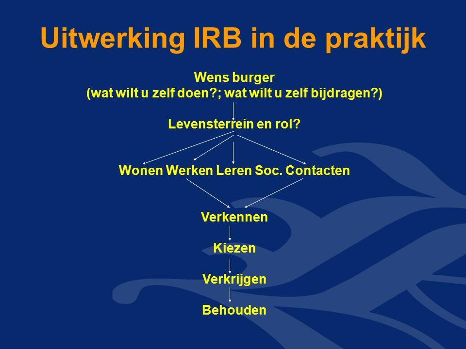 Uitwerking IRB in de praktijk Wens burger (wat wilt u zelf doen?; wat wilt u zelf bijdragen?) Levensterrein en rol.