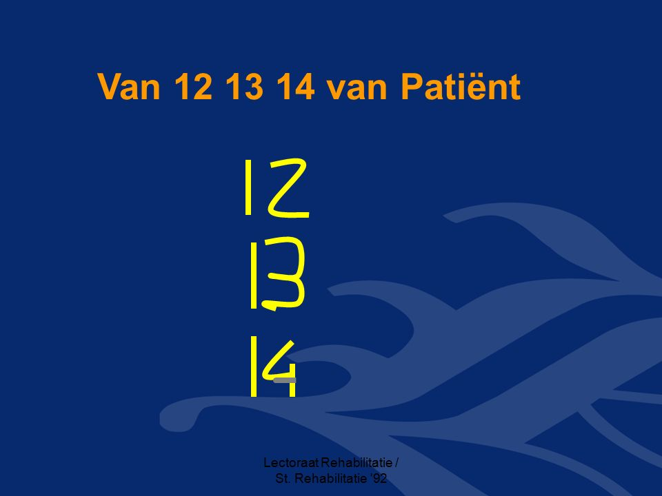 Lectoraat Rehabilitatie / St. Rehabilitatie 92 Van 12 13 14 van Patiënt