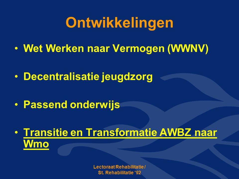 Ontwikkelingen Wet Werken naar Vermogen (WWNV) Decentralisatie jeugdzorg Passend onderwijs Transitie en Transformatie AWBZ naar Wmo Lectoraat Rehabilitatie / St.