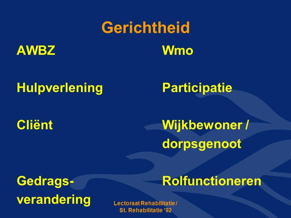 Gerichtheid AWBZWmo HulpverleningParticipatie CliëntWijkbewoner / dorpsgenoot Gedrags-Rolfunctioneren verandering Lectoraat Rehabilitatie / St.