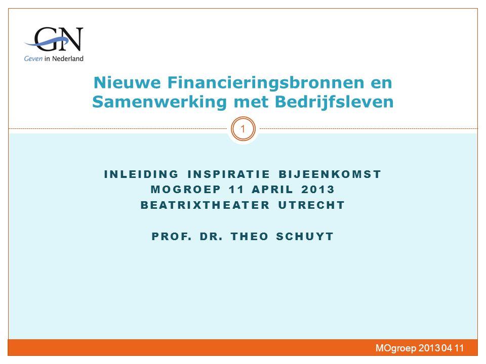 Nieuwe Financieringsbronnen en Samenwerking met Bedrijfsleven INLEIDING INSPIRATIE BIJEENKOMST MOGROEP 11 APRIL 2013 BEATRIXTHEATER UTRECHT PROF.