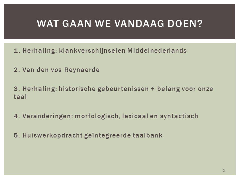1. Herhaling: klankverschijnselen Middelnederlands 2. Van den vos Reynaerde 3. Herhaling: historische gebeurtenissen + belang voor onze taal 4. Verand