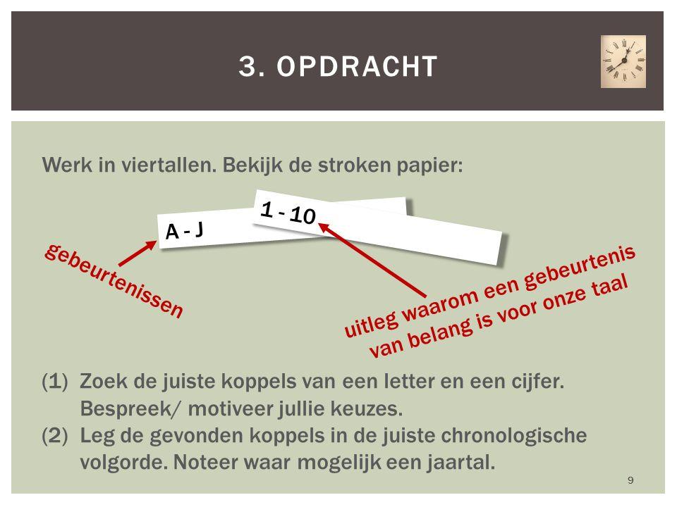 9 3. OPDRACHT Werk in viertallen. Bekijk de stroken papier: (1)Zoek de juiste koppels van een letter en een cijfer. Bespreek/ motiveer jullie keuzes.