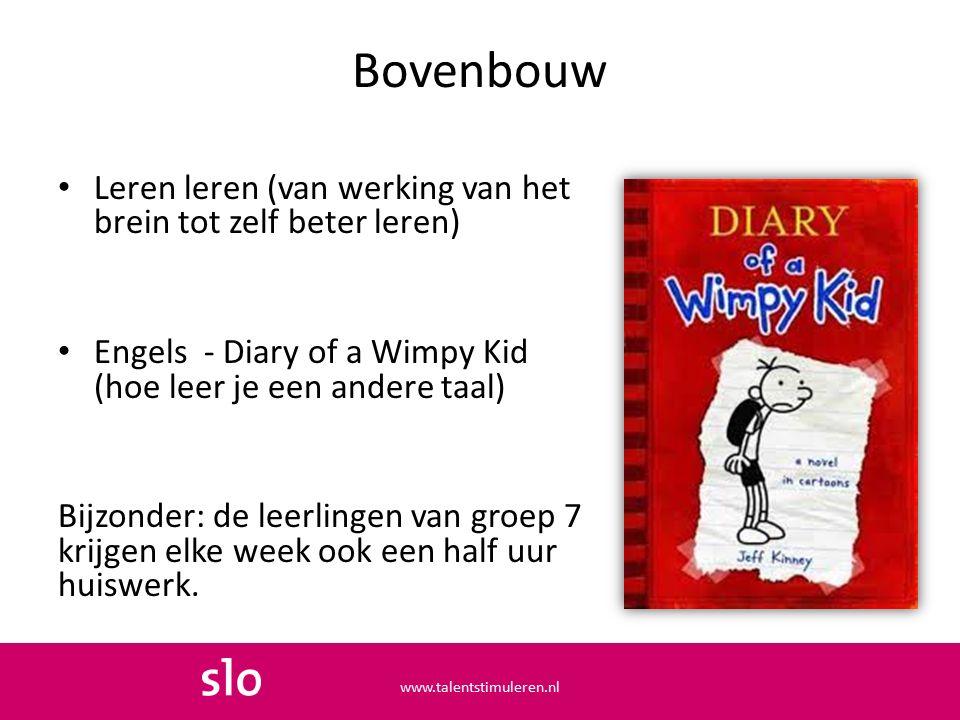 Bovenbouw Leren leren (van werking van het brein tot zelf beter leren) Engels - Diary of a Wimpy Kid (hoe leer je een andere taal) Bijzonder: de leerlingen van groep 7 krijgen elke week ook een half uur huiswerk.