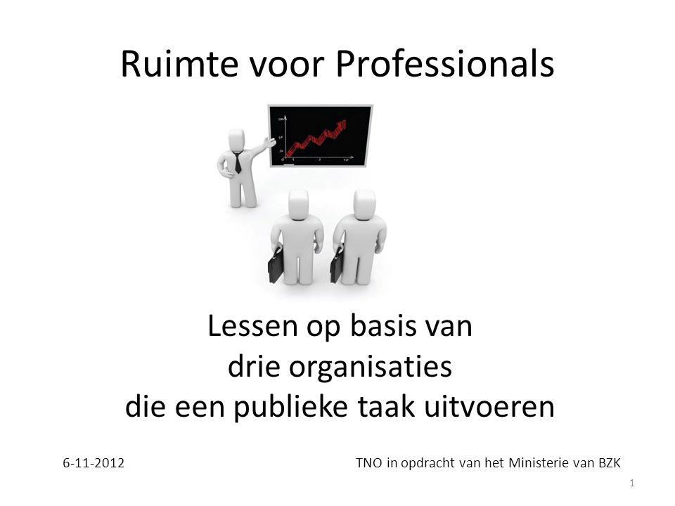 Ruimte voor Professionals 6-11-2012 TNO in opdracht van het Ministerie van BZK Lessen op basis van drie organisaties die een publieke taak uitvoeren 1