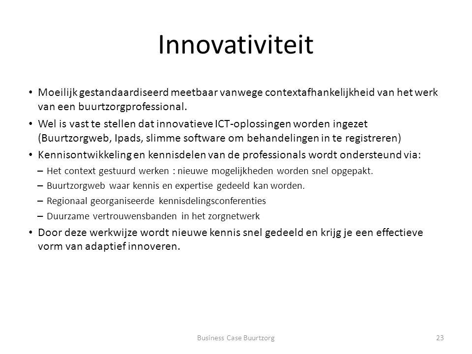Innovativiteit Moeilijk gestandaardiseerd meetbaar vanwege contextafhankelijkheid van het werk van een buurtzorgprofessional.