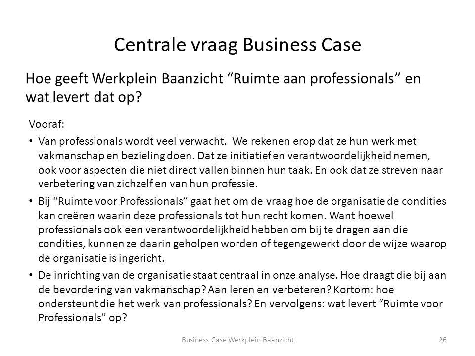 Centrale vraag Business Case Vooraf: Van professionals wordt veel verwacht.