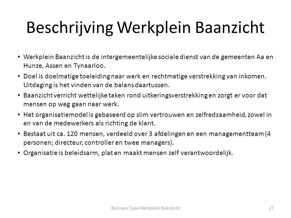 Beschrijving Werkplein Baanzicht Werkplein Baanzicht is de intergemeentelijke sociale dienst van de gemeenten Aa en Hunze, Assen en Tynaarloo.