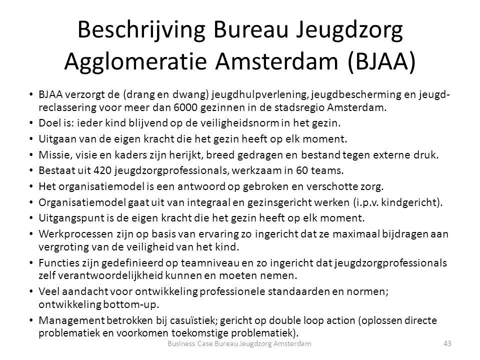 Beschrijving Bureau Jeugdzorg Agglomeratie Amsterdam (BJAA) BJAA verzorgt de (drang en dwang) jeugdhulpverlening, jeugdbescherming en jeugd- reclassering voor meer dan 6000 gezinnen in de stadsregio Amsterdam.