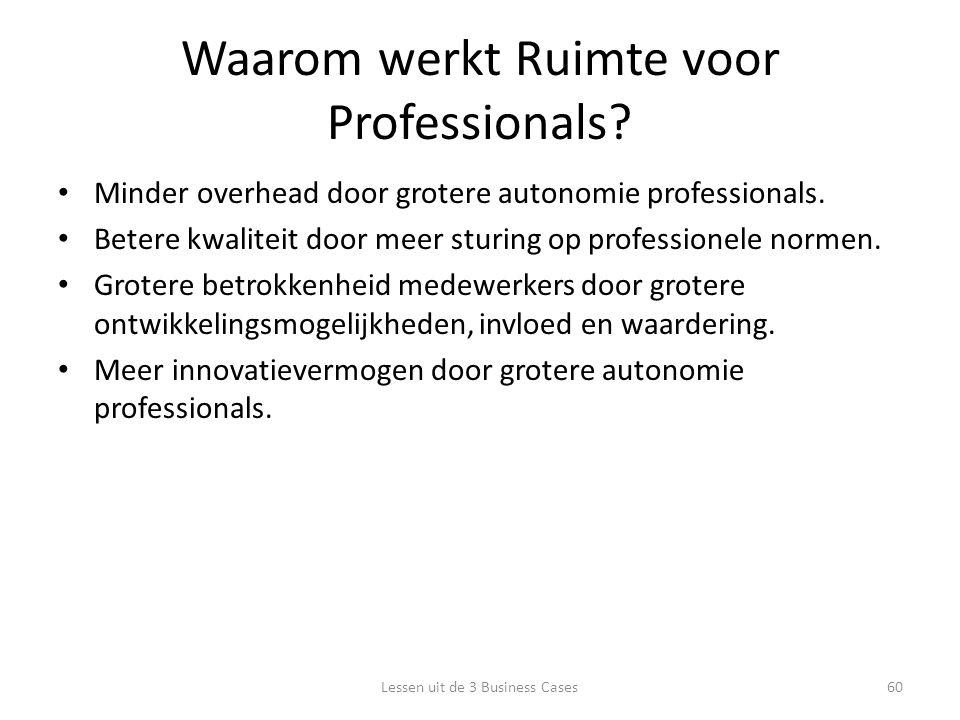 Waarom werkt Ruimte voor Professionals. Minder overhead door grotere autonomie professionals.