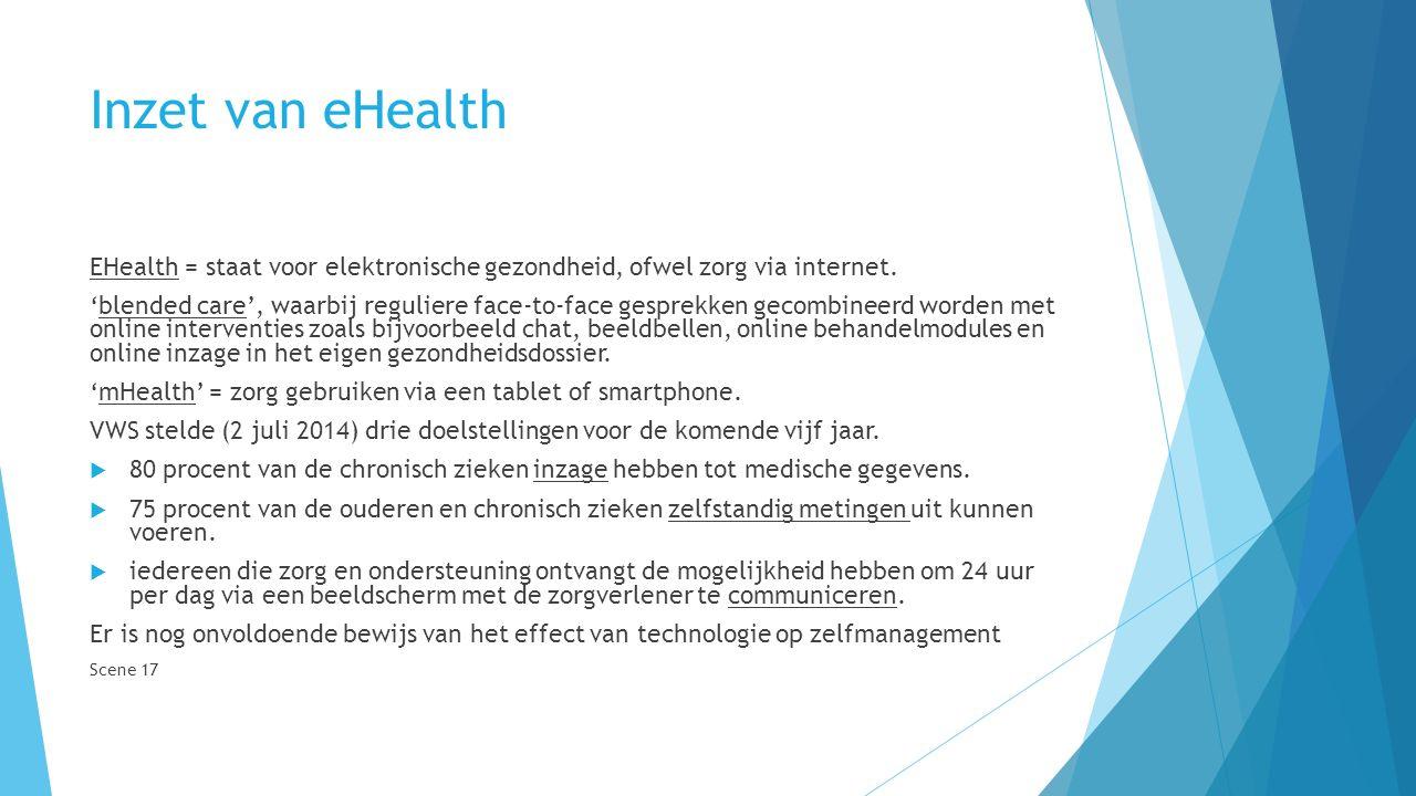 Inzet van eHealth EHealth = staat voor elektronische gezondheid, ofwel zorg via internet.