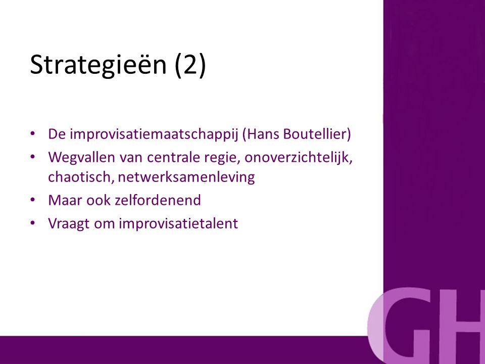 De improvisatiemaatschappij (Hans Boutellier) Wegvallen van centrale regie, onoverzichtelijk, chaotisch, netwerksamenleving Maar ook zelfordenend Vraa